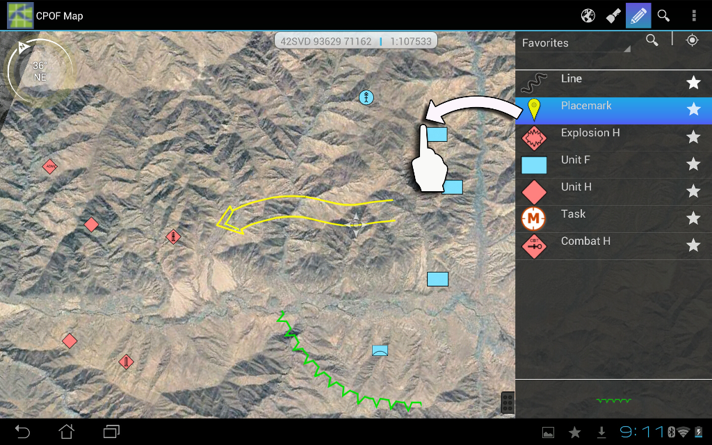 Screenshot showing how users can create graphics on a map.