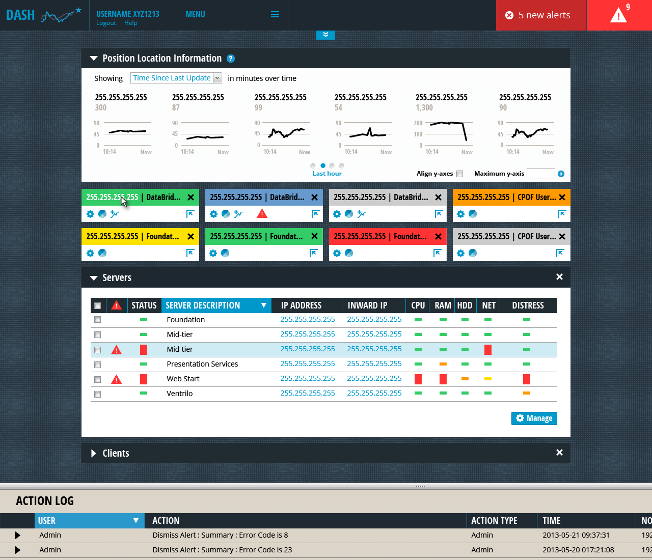 Screenshot of a system administration dashboard.